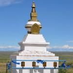 Stupa avec moulin à prières